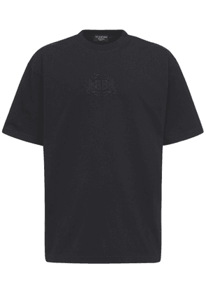 Oversize Logo Embroidery Cotton T-shirt