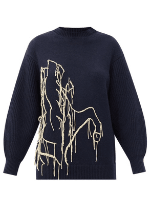 Ssone - Joanie Embroidered Recycled-cashmere Sweater - Womens - Navy
