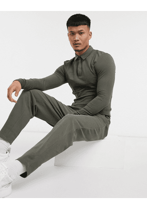 ASOS DESIGN smart co-ord tapered joggers in pique with fixed hem in deep khaki-Green