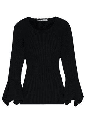 Autumn Cashmere Fluted Pointelle Knit-paneled Ribbed-knit Sweater Woman Black Size S