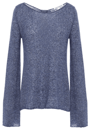 Autumn Cashmere Knotted Mélange Cashmere And Silk-blend Sweater Woman Indigo Size S