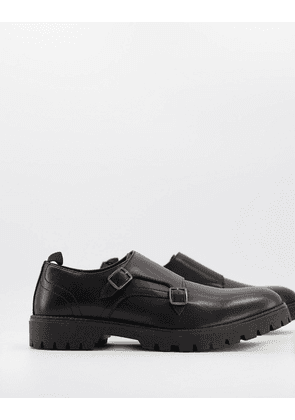 ASOS DESIGN monk shoes in black leather and double strap