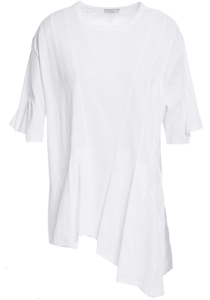Clu Asymmetric Pleated Cotton-jersey And Striped Satin Top Woman White Size M