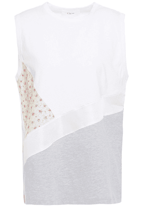 Clu Patchwork-effect Printed Woven And Cotton-jersey Top Woman White Size S