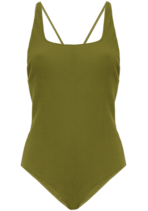 Ganni Open-back Ribbed Swimsuit Woman Army green Size 32
