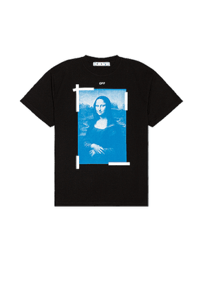 OFF-WHITE Blue Mona Lisa Tee in Black. Size S.