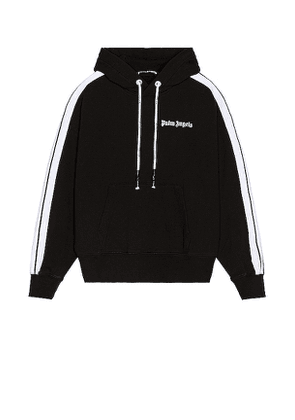 Palm Angels Fleece Track Hoodie in Black. Size XL.
