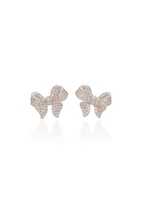 FALLON - Women's Puffy Bow Crystal-Embellished Rhodium-Plated Earrings - Silver - Moda Operandi