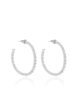 FALLON - Women's Infinity Crystal Rhodium-Plated Hoop Earrings - Silver - Moda Operandi