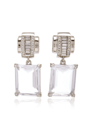 Brandon Maxwell - Women's x Kenneth Jay Lane Glass Crystal Earrings - Silver - Moda Operandi