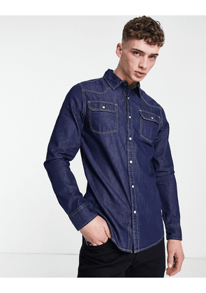 Criminal Damage clint denim shirt in dark wash-Blue