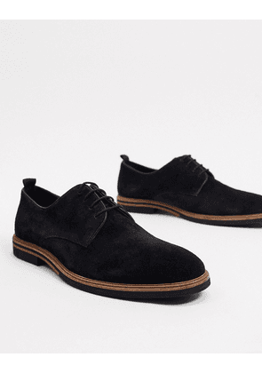 ASOS DESIGN lace up shoes in black suede with contrast sole