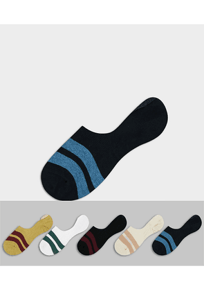 ASOS DESIGN liner sock in neutral colours with bold stripes 5 pack-Multi
