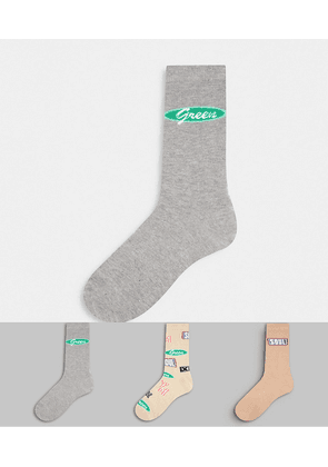 ASOS DESIGN ankle sock with slogan patches design 3 pack-Multi