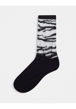 ASOS DESIGN ankle sock with sheer cut out in zebra print-Black