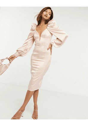 ASOS DESIGN long sleeve quilted satin plunge wired bodycon midi dress in pale pink