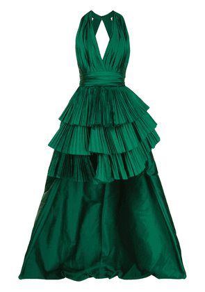 Elie Saab pleated plunge-neck gown - Green