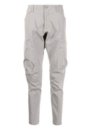 Attachment panelled tapered trousers - White