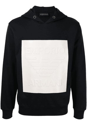 Emporio Armani embossed logo patch hoodie - Blue