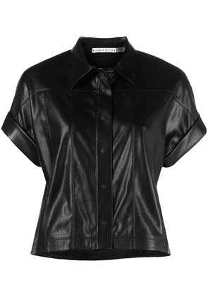 Alice+Olivia leather-effect shirt - Black