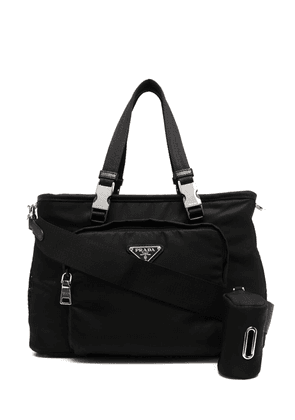 Prada logo-plaque holdall bag - Black