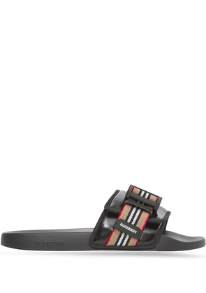 Burberry Icon Stripe buckled slides - Black