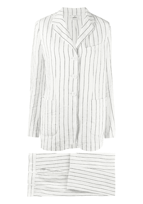 Aspesi pinstripe two-piece linen suit - White