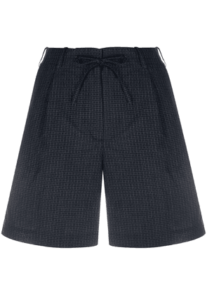 Aspesi micro-check drawstring waist shorts - Blue