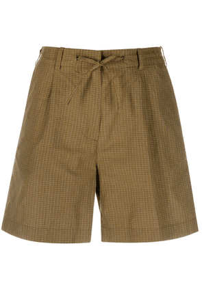 Aspesi micro-check drawstring waist shorts - Green