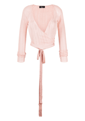 Blumarine ruched V-neck top - Pink