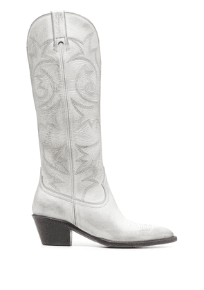 Buttero Annie embroidered boots - White