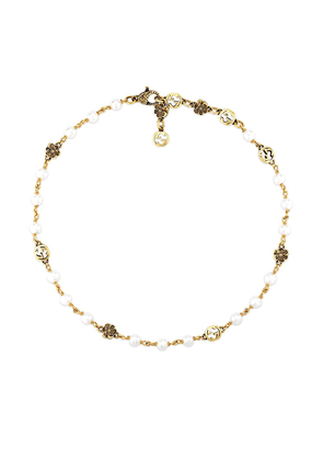 Gucci Interlocking G flower pearl small necklace - Gold