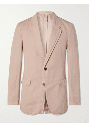 TOD'S - Unstructured Garment-Dyed Cotton and Linen-Blend Blazer - Men - Pink - XS