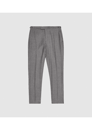 Reiss Ben - Puppytooth Check Slim Fit Trousers in Charcoal, Mens, Size 28