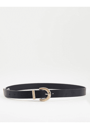 ASOS DESIGN skinny western belt in black faux leather with gold detail buckle and keeper