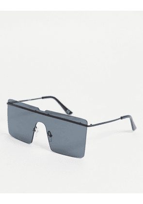 ASOS DESIGN rimless oversized square sunglasses in black with brow bar detail