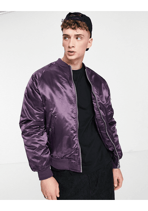 ASOS DESIGN padded bomber jacket with MA1 pocket in high shine purple