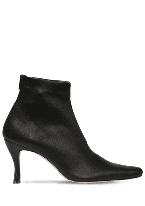 75mm Stivie Stretch Leather Ankle Boots