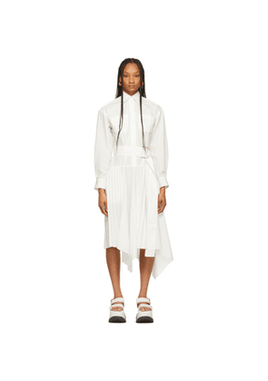 JW Anderson White Pleated D-Ring Dress