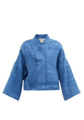 By Walid - Cassie Upcycled-cotton Embroidered Jacket - Womens - Blue