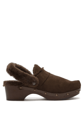 Álvaro - Shearling-lined Suede Clog Sandals - Womens - Brown