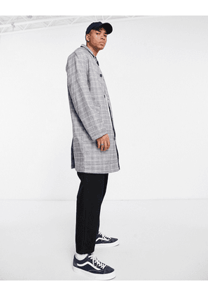 ASOS DESIGN single breasted trench coat in grey check