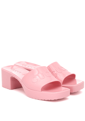 Logo rubber platform sandals