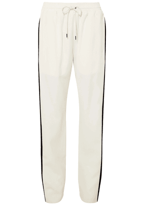 Burberry Striped Silk And Wool-blend Crepe Track Pants Woman Off-white Size 14