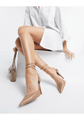 ASOS DESIGN Pally tie leg high heeled shoes in camel-Neutral