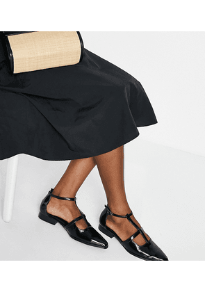 ASOS DESIGN Wide Fit Malay pointed flat shoes in black
