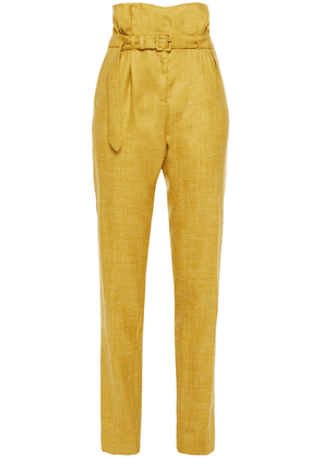 Gabriela Hearst Belted Wool, Silk And Linen-blend Tapered Pants Woman Mustard Size 38
