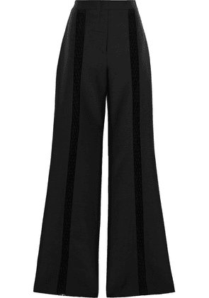 Gabriela Hearst Fishnet-trimmed Wool And Silk-blend Flared Pants Woman Black Size 36
