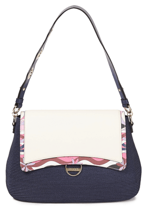 Emilio Pucci Riviera Printed Leather And Faux Straw Shoulder Bag Woman Navy Size --