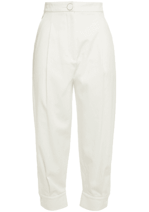 Emilio Pucci Cropped Color-block Stretch-cotton Twill Tapered Pants Woman Ivory Size 44